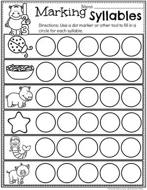 Fun Syllables Worksheets for Kids - Dot Marker Syllables