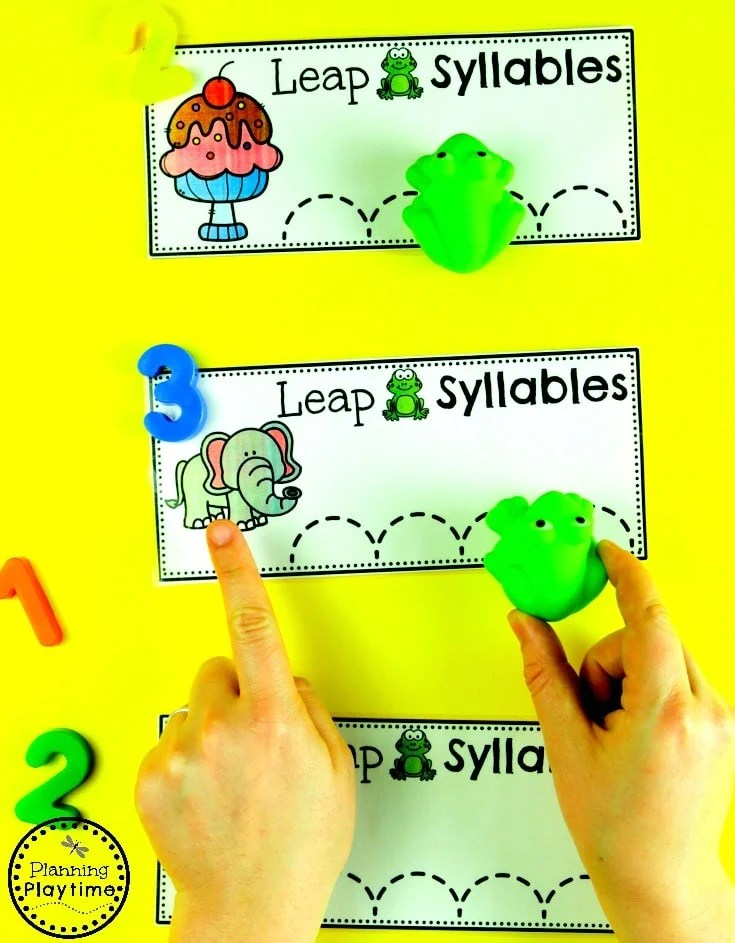 Leap Frog Syllables - Trace or Jump #syllables #syllablesworksheets #kindergartenworksheets #planningplaytime
