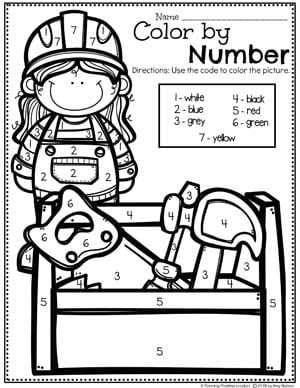 Preschool Coloring Pages - Construction Color by Number #coloringpages #constructiontheme #preschool #preschoolworksheets #planningplaytime