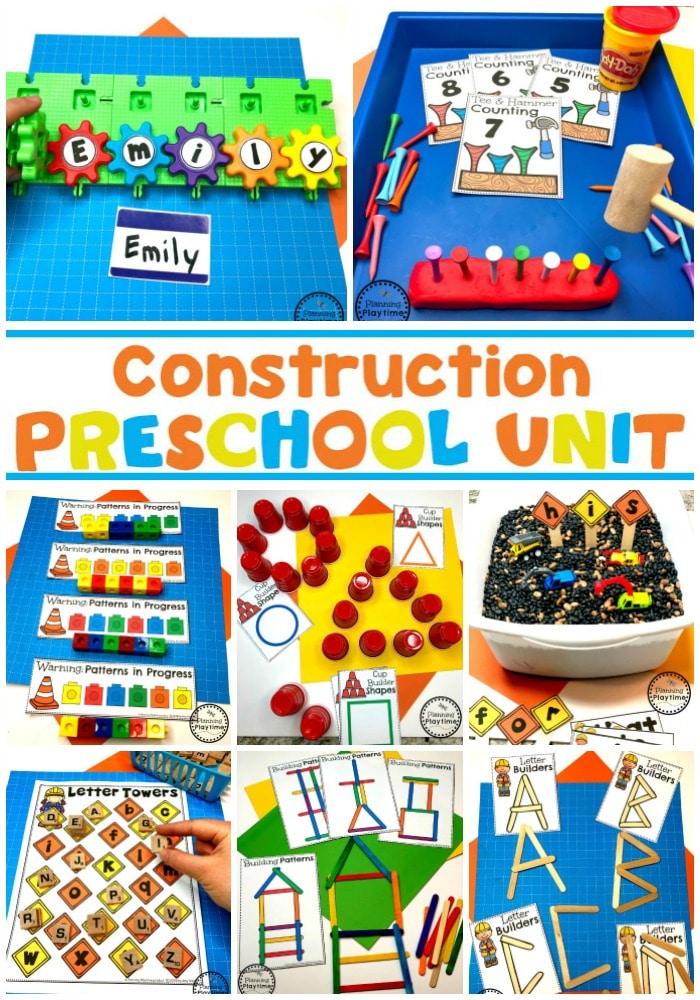 Preschool Construction Theme Activities and Centers #constructiontheme #preschool #preschoolworksheets #planningplaytime