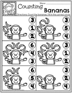 Preschool Counting Worksheets - Zoo Theme with Monkeys #zootheme #preschool #preschoolworksheets #planningplaytime