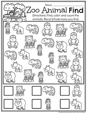 Preschool Counting Worksheets - Zoo Theme #zootheme #preschool #preschoolworksheets #planningplaytime