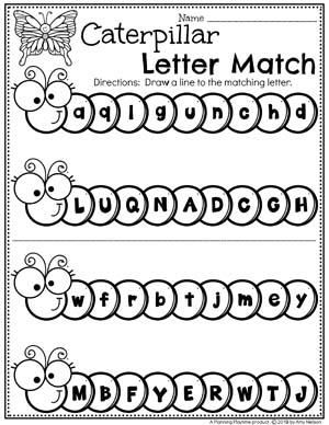 Preschool Letter Worksheets - Caterpillar Letter Matching #springworksheets #preschoolworksheets #planningplaytime #alphabetworksheets