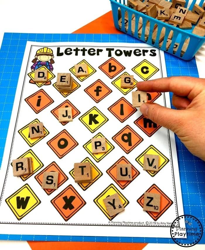 Preschool Letters Activity - Construction Theme #letteractivities #constructiontheme #preschool #preschoolworksheets #planningplaytime