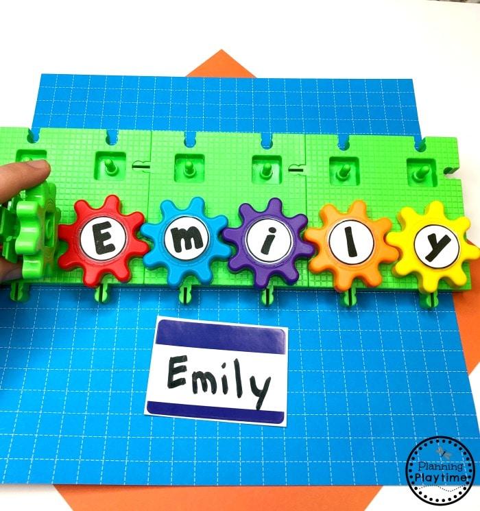 Preschool Name Activities - Build and Spin Name #constructiontheme #preschool #preschoolworksheets #planningplaytime