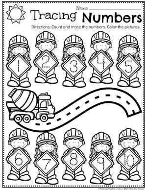 Preschool Numbers Worksheets - Number Tracing Construction Theme #constructiontheme #preschool #preschoolworksheets #planningplaytime