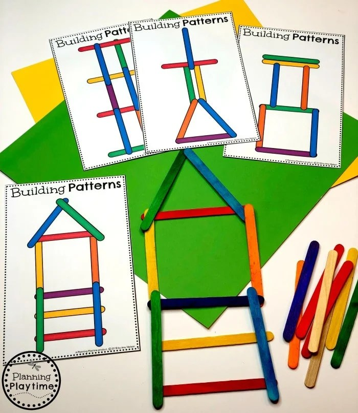 Preschool Patterns Activity - Building Patterns Construction Theme #patterns #constructiontheme #preschool #preschoolworksheets #planningplaytime