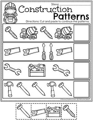 Preschool Patterns Worksheets - Construction Theme #constructiontheme #preschool #preschoolworksheets #planningplaytime
