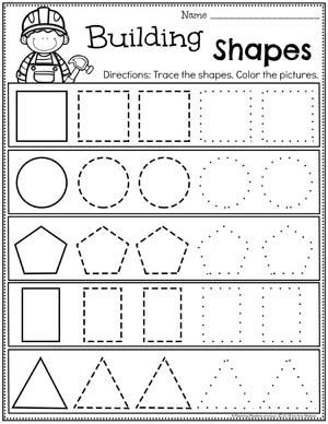 Preschool Shapes Worksheet - Construction Theme #constructiontheme #preschool #preschoolworksheets #planningplaytime