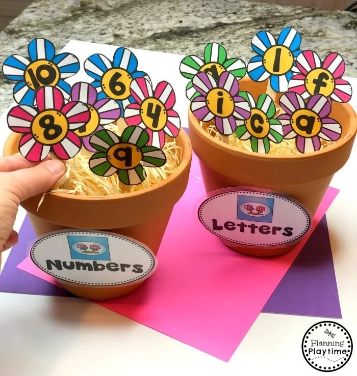 Preschool Sorting Activity - Letters or Numbers Flowers for Spring