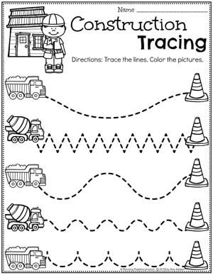 Preschool Tracing Worksheets - Construction Theme #constructiontheme #preschool #preschoolworksheets #planningplaytime