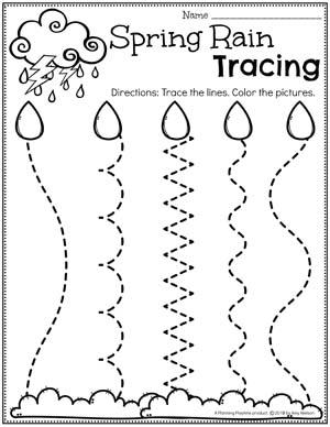 Preschool Tracing Worksheets - Spring Weather #springworksheets #preschoolworksheets #planningplaytime #tracingworksheets