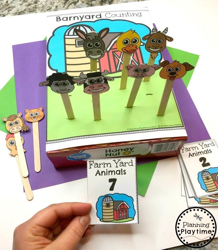 Spring Preschool Activities - Cereal Box Farm Counting
