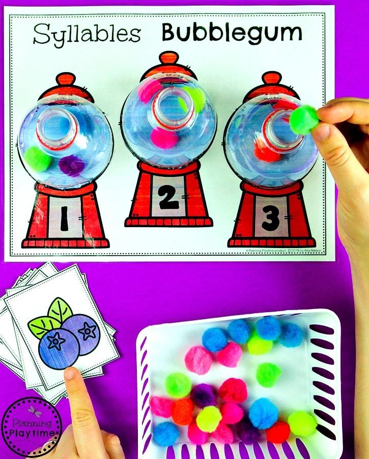 Syllables Activities for Kids - Kindergarten Centers #syllables #syllablesworksheets #kindergartenworksheets #planningplaytime