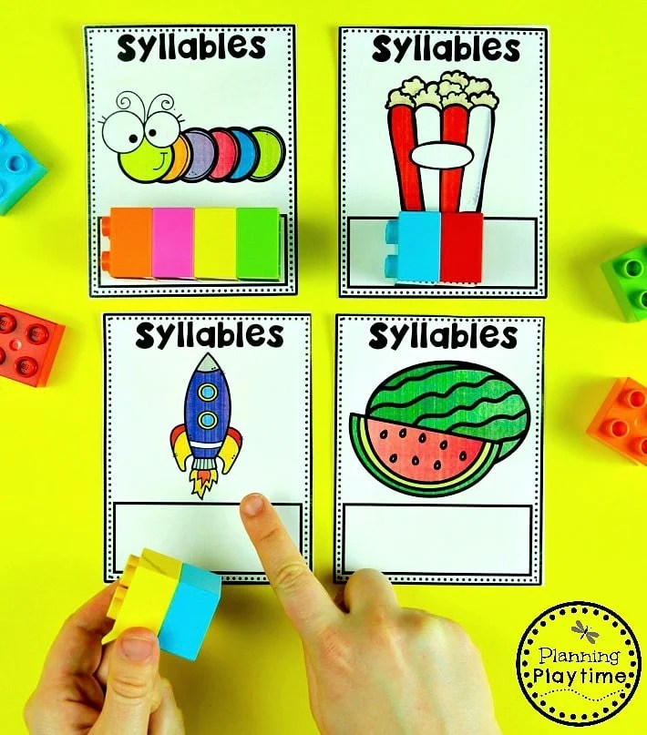 Syllables Games - Count and Build Syllables #syllables #syllablesworksheets #kindergartenworksheets #planningplaytime
