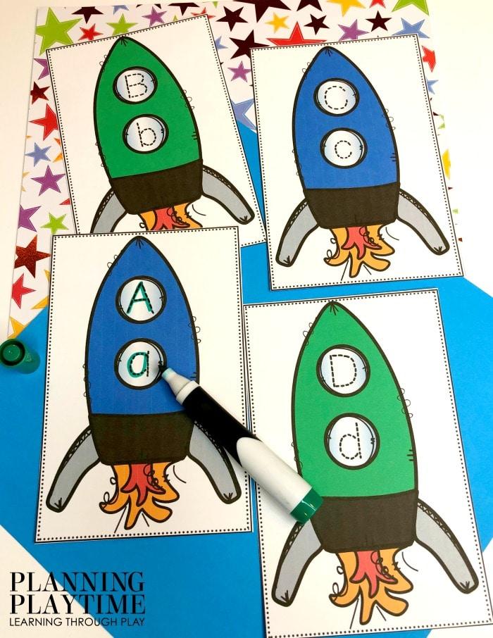 Alphabet Activities for Preschool - Space Theme Letter Tracing #spacetheme #preschoolworksheets #preschoolactivities #preschoolprintables #planningplaytime #letterworksheets