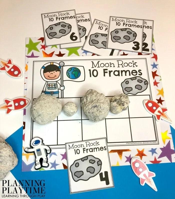 Counting Activities for Preschool Space Theme - Rock 10 Frames #spacetheme #preschoolworksheets #preschoolactivities #preschoolprintables #planningplaytime #countingactivities