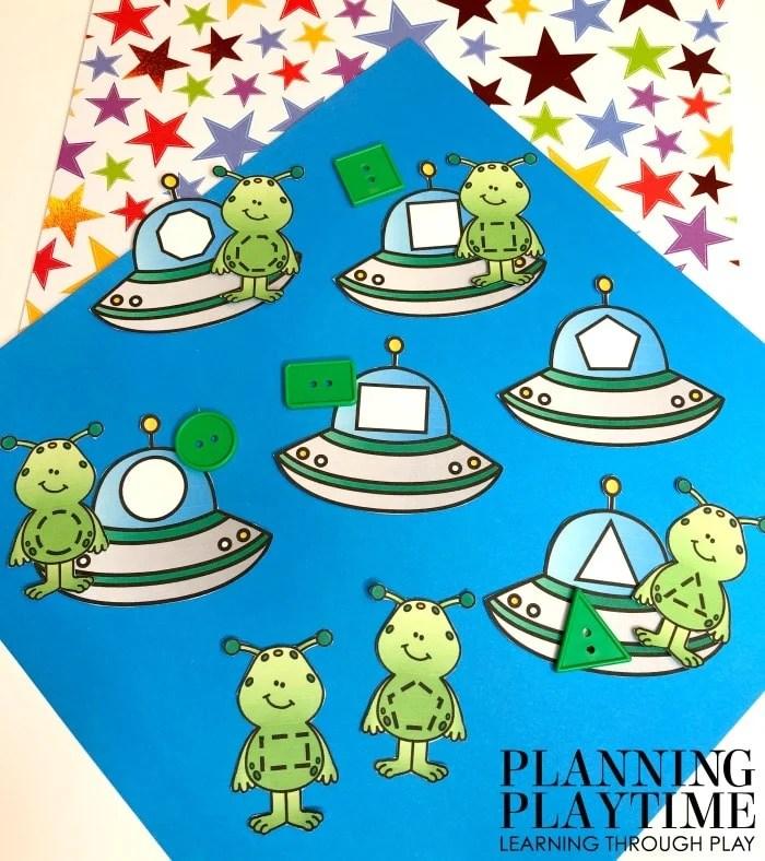 Preschool Activities Shapes - Alien Shapes for a Space Theme #spacetheme #preschoolworksheets #preschoolactivities #preschoolprintables #planningplaytime #preschoolshapes