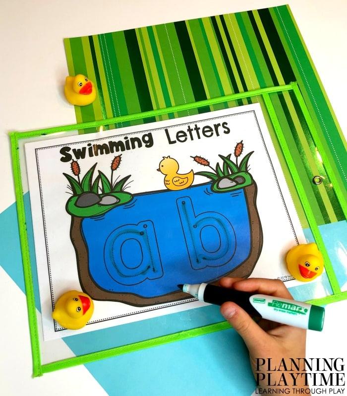 Preschool Alphabet Activities - Letter Writing and Formation #preschool #preschoolworksheets #pondtheme #planningplaytime #alphabetactivities