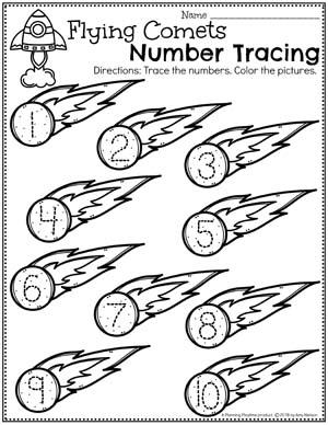 Preschool Number Worksheets - Space Theme