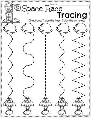 Preschool Tracing Worksheets - Race to Space Theme #spacetheme #preschoolworksheets #preschoolactivities #preschoolprintables #tracingworksheets