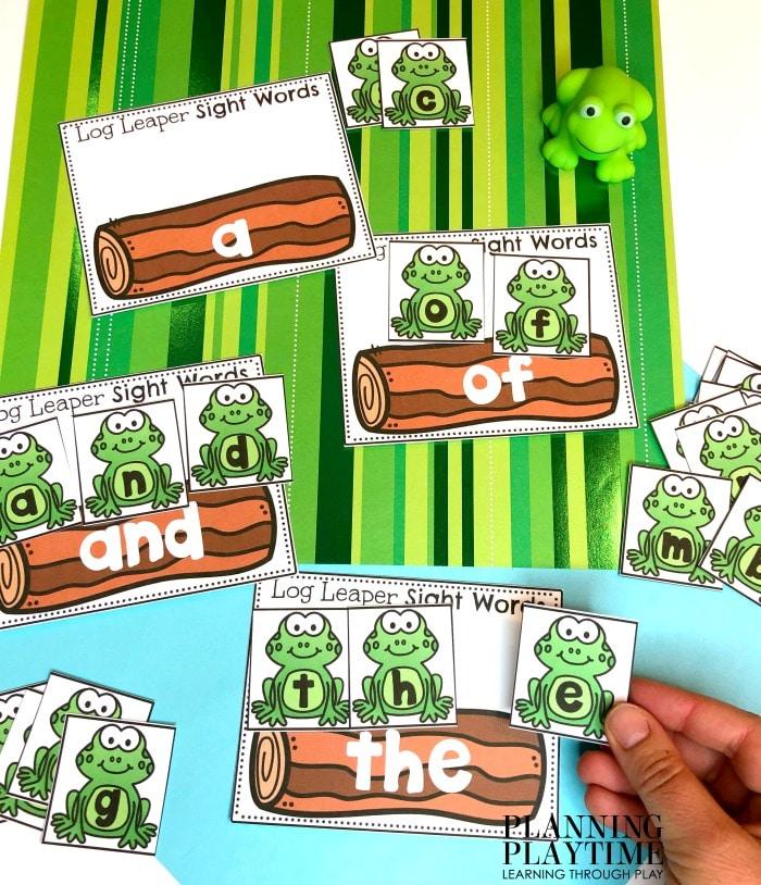 Sight Words Preschool Pond Theme Activities and Worksheets. #preschool #preschoolworksheets #pondtheme #planningplaytime #alphabetactivities #sightwords