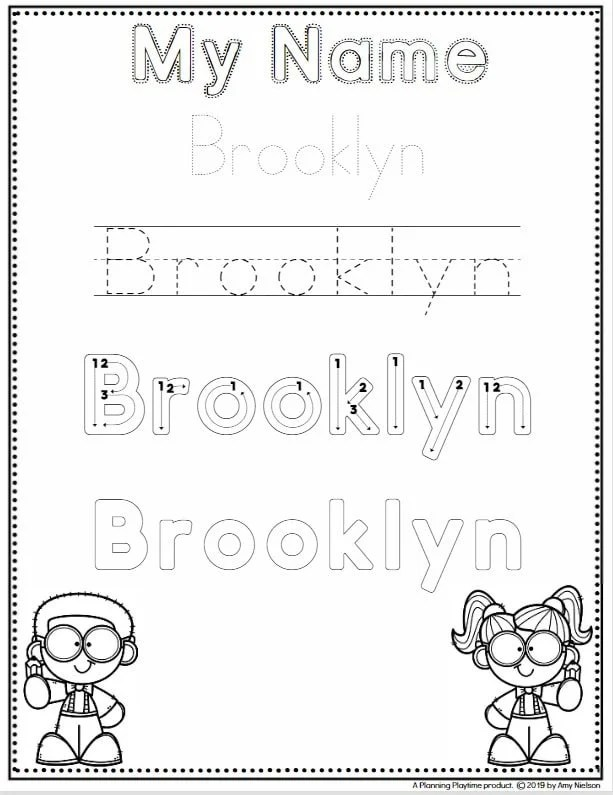 Name Tracing Worksheets for Preschool - Editable quick and easy for the entire class #preschoolworksheets #nameworksheets #preschoolprintables #nametracing #backtoschool #planningplaytime