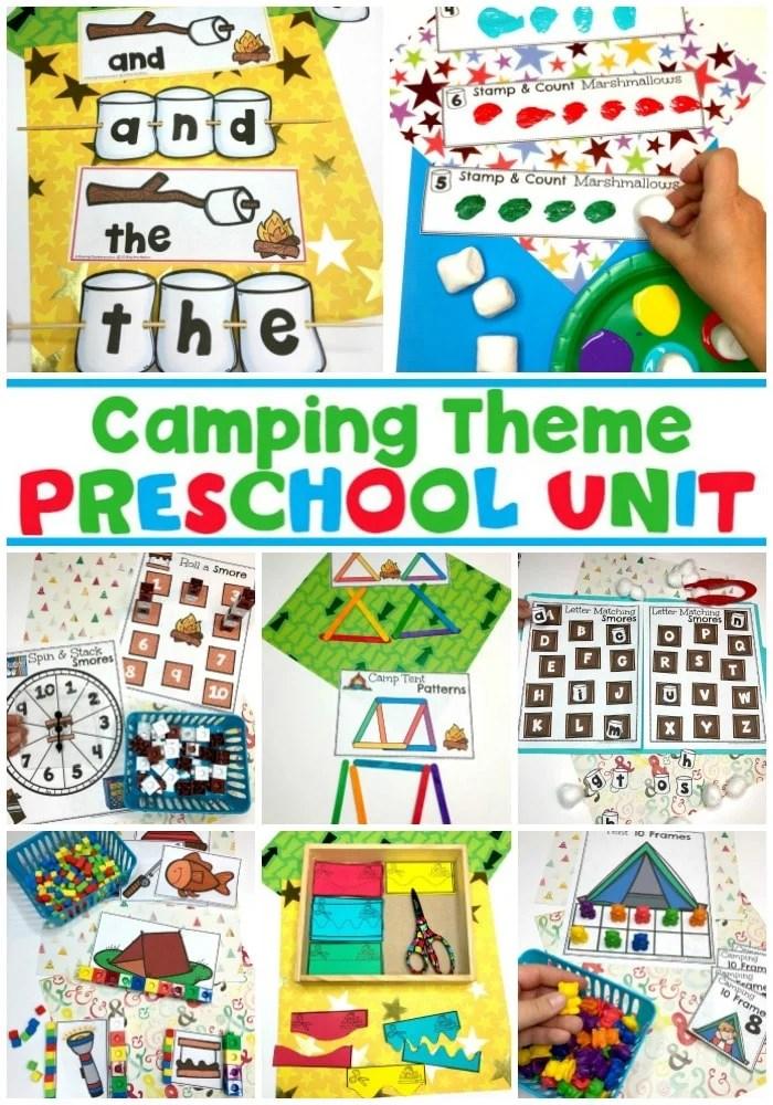Camping Theme Preschool - Preschool Activities and Printables #preschoolactivities #preschoolprintables #campingtheme #planningplaytime