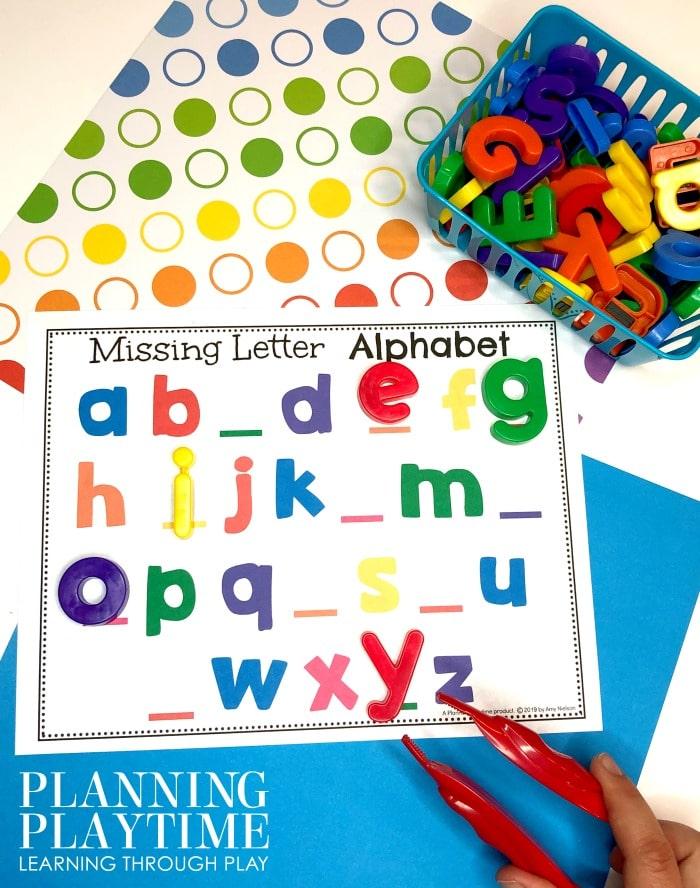 Letter Recognition Activities for Preschool and Kindergarten - Missing letter alphabet #lettertracing #letterworksheets #alphabetworksheets #preschoolworksheets #preschoolactivities #alphabetactivities #planningplaytime