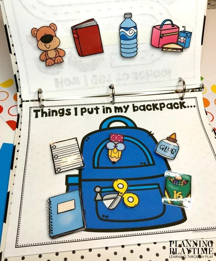 sorting page with items that go in a backpack.