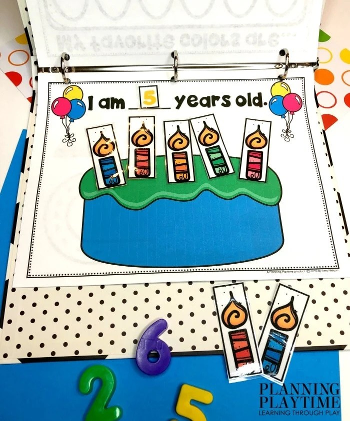 Birthday cake printable with counting number and candles to count on cake.