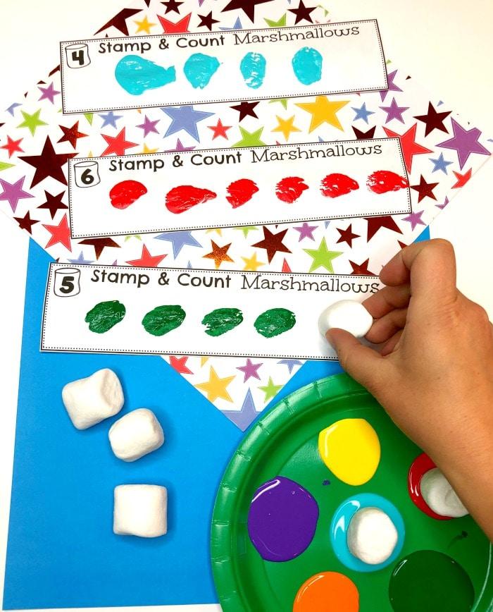 Preschool Counting Activity - Marshmallow Painting Activity for Preschool #preschoolactivities #preschoolprintables #campingtheme #planningplaytime