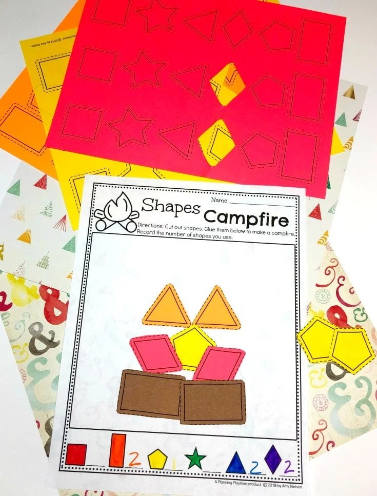 Preschool Shapes Activity - Preschool Camping theme #preschoolactivities #preschoolprintables #campingtheme #planningplaytime