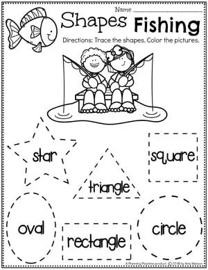 Shapes Worksheets for Preschool - Tracing Shapes Camping Theme #preschoolactivities #preschoolprintables #campingtheme #planningplaytime #preschoolworksheets