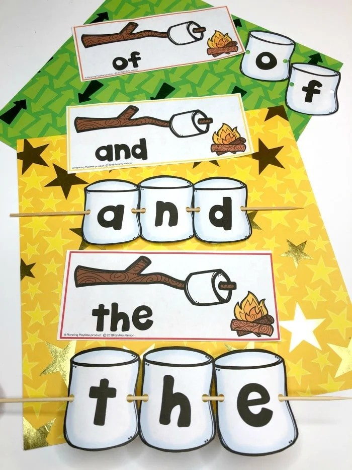Sight Words Activity for Preschool Camping theme - Sight Words Smores #preschoolactivities #preschoolprintables #campingtheme #planningplaytime