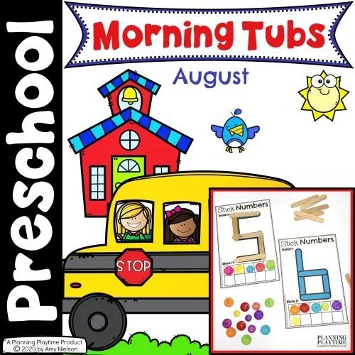 Morning Tubs - August - Preschool Activities for Back to School