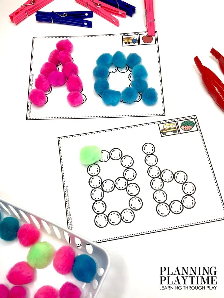 Preschool Activities Alphabet - Pom Pom Letters