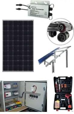 solar panels, inverter and batteries