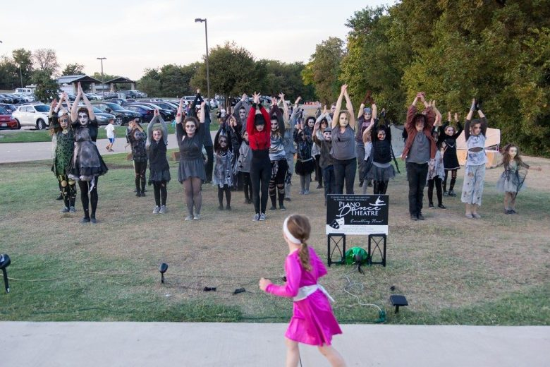 Little girl jogs past actors in monster make up at City of Plano's Haunt Jaunt 2015 RB2-PHOTOGRAPHY