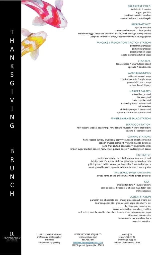 Thanksgicing brunch menu Renaissance Dallas at Plano Legacy West Hotel
