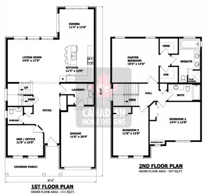 Planos de casas pequeñas de dos pisos (2)
