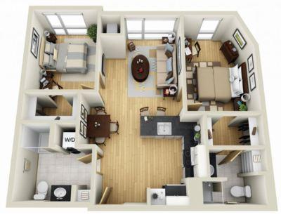 departamento amplio plano detallado 3d