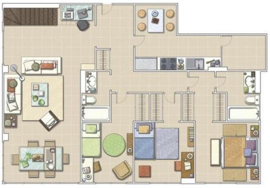 9 planos de departamentos grandes planos y fachadas for Planos de departamentos de 40m2