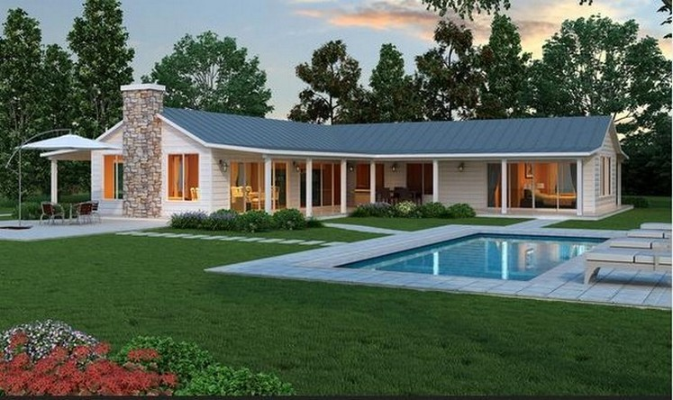 35 fachadas de casas de una planta modernas y vistosas for Fachadas de casas campestres