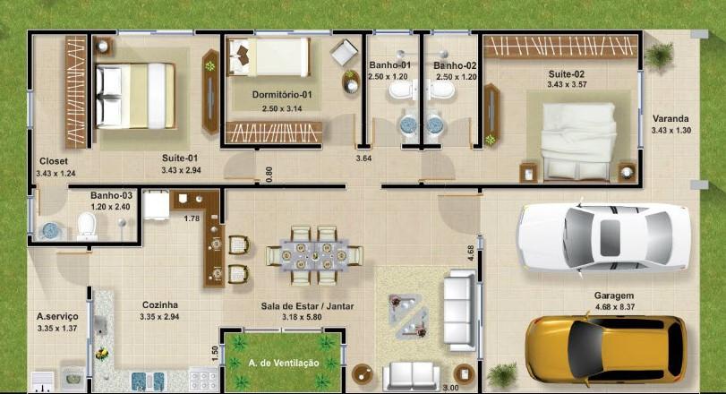 Planos de casas modernas de 3 dormitorios planos y for Planos de casas de dos plantas y tres dormitorios