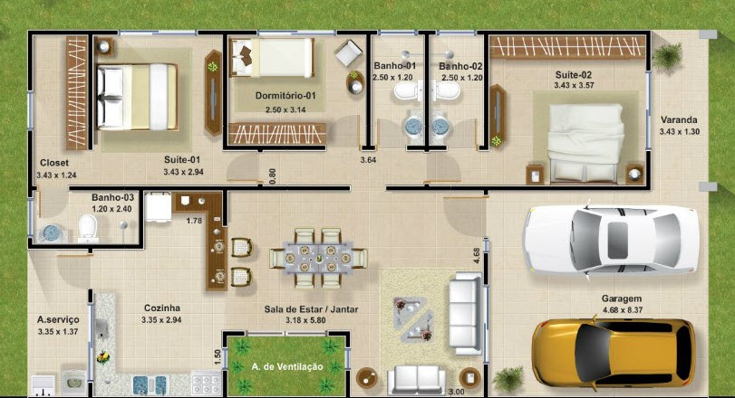 Planos de casas modernas de 3 dormitorios planos y for Planos de casas de tres dormitorios en una planta