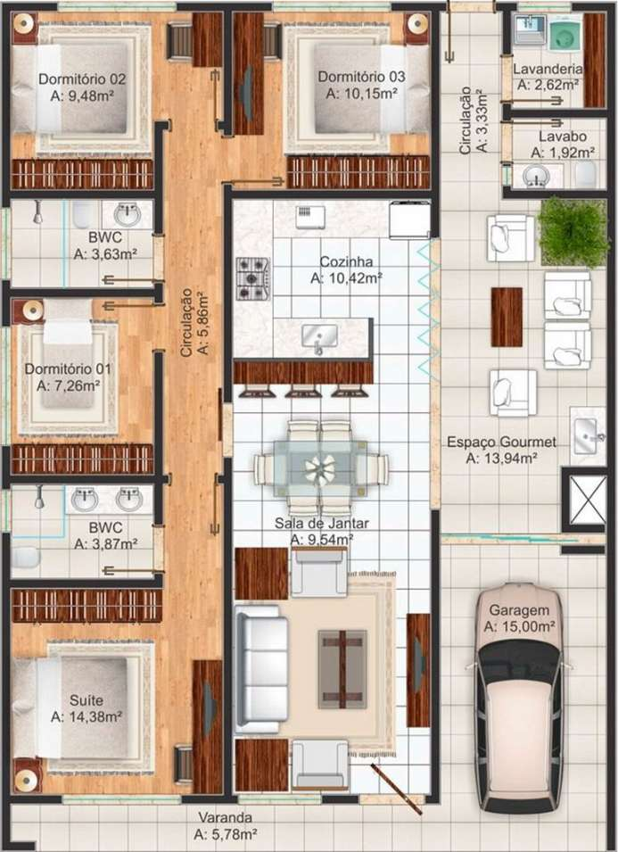 Planos de casas modernas de 3 dormitorios planos y for Planos de casas de tres dormitorios