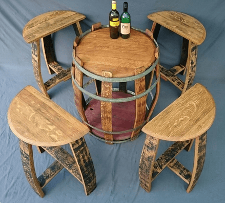 <img source = 'pic.gif' alt = '4 Chairs and a table from barrel staves'/>