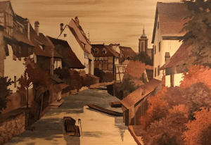 <img source = ';pic.gif' = alt = 'Marquetry picture of village by Jean Spindler'/>>