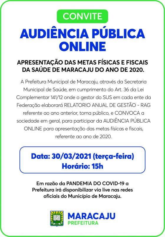 Convite de audiência publica online